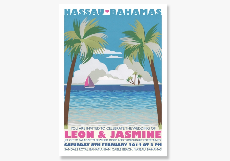vintage travel poster wedding invitation