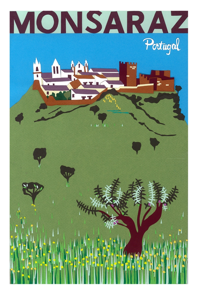 Papercut art of Monsaraz castle Portugal