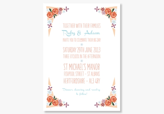 Peachy Keen Wedding Stationery for Retro Weddings