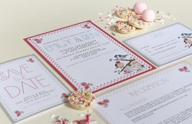 Fondant feathers stationery for a vintage wedding