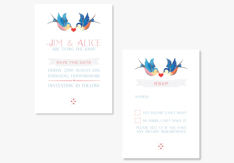 Unusual wedding invitations Swallow Tattoo