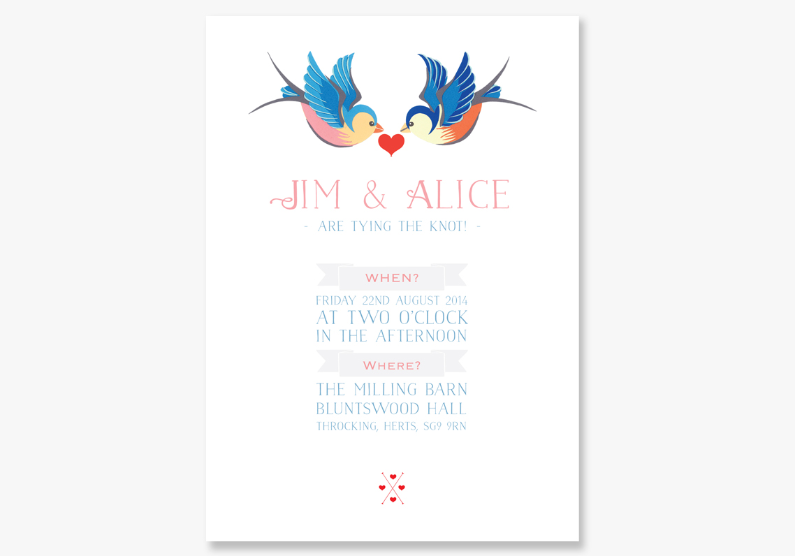 Unusual Wedding Invitations: Swallow Tattoo |