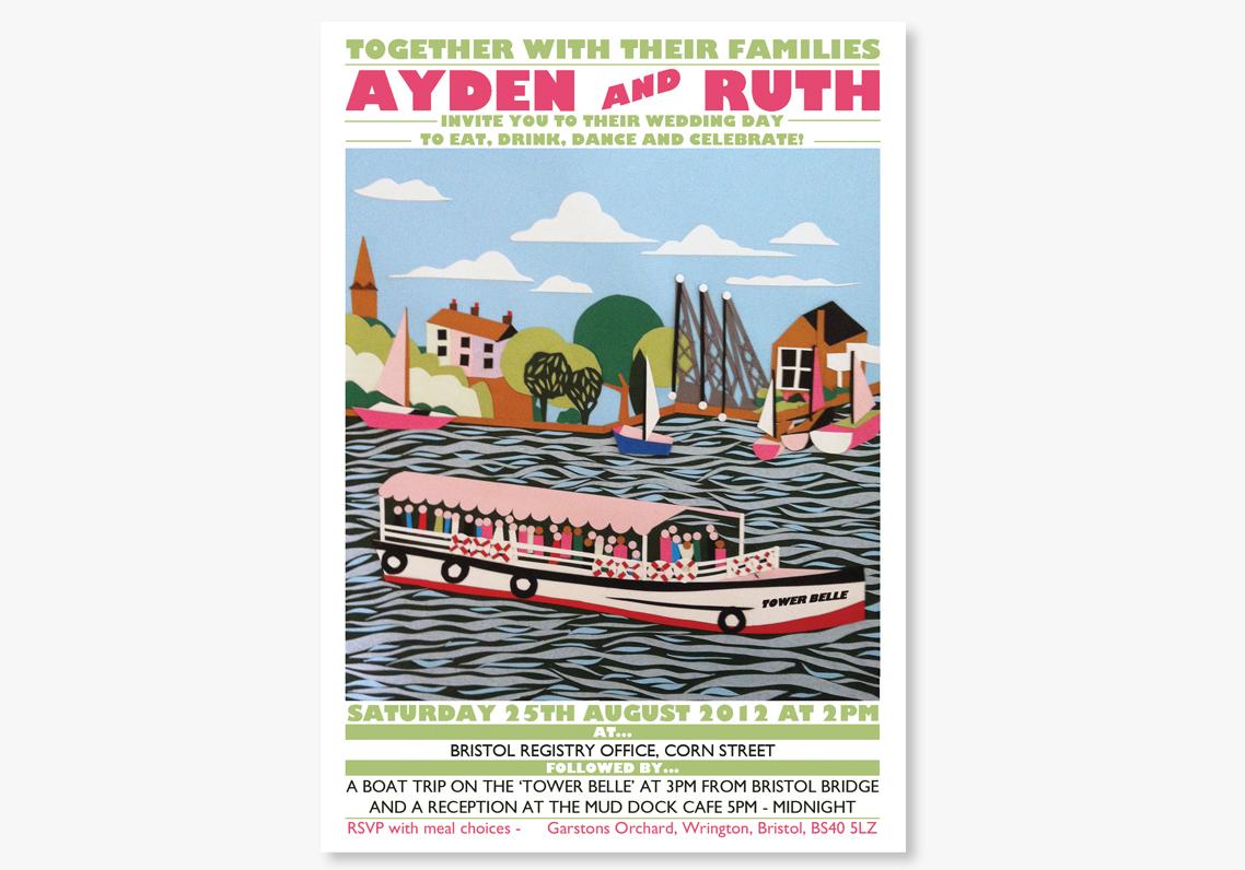 Vintage Poster Wedding Invitations: Canal Boat, UK |