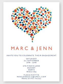 Hear shaped engagement invitations