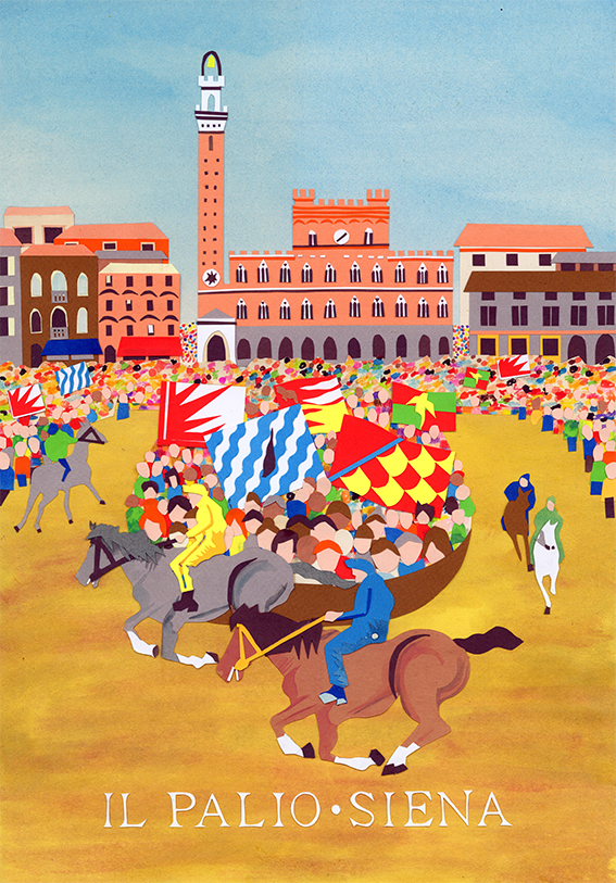 collage illustration of Il Palio di Siena