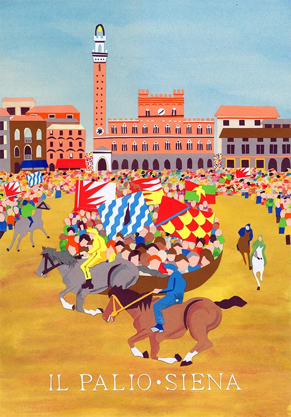 collage illustration of Il Palio di Siena