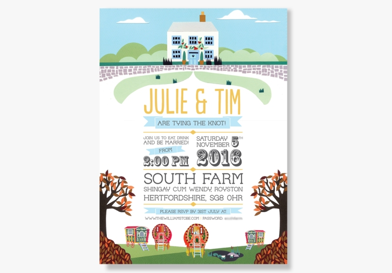 Wedding invitations featuring Gypsy Caravans at South Farm Cambridgeshire