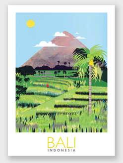Bali Rice terrace poster giclee print