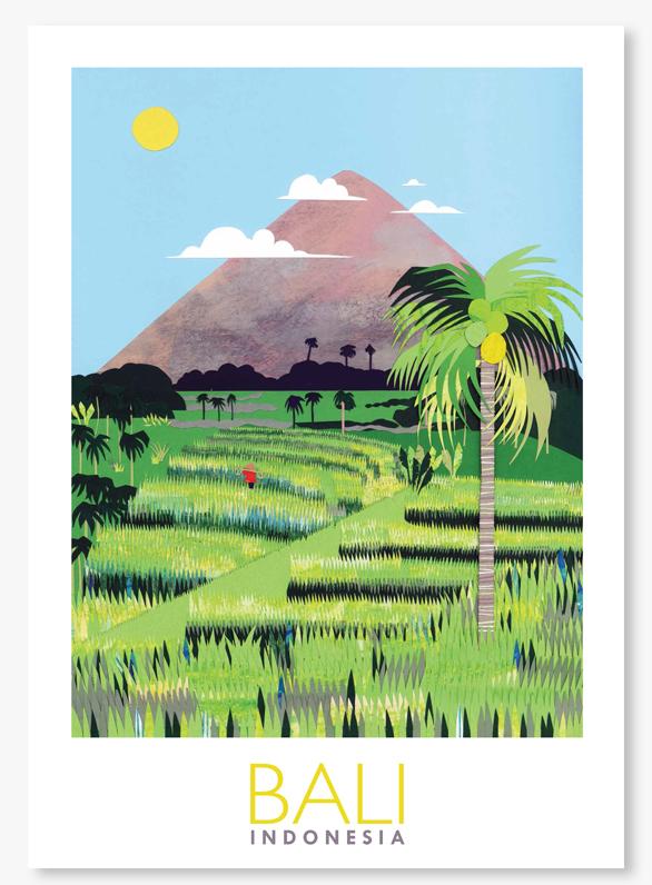 Bali Rice terrace poster giclee print