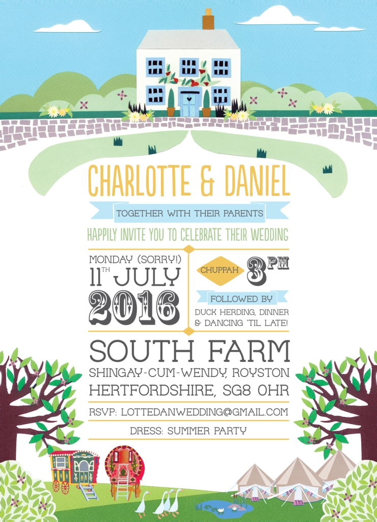 Illustrated invitations for Charlotte and dan's South Farm wedding