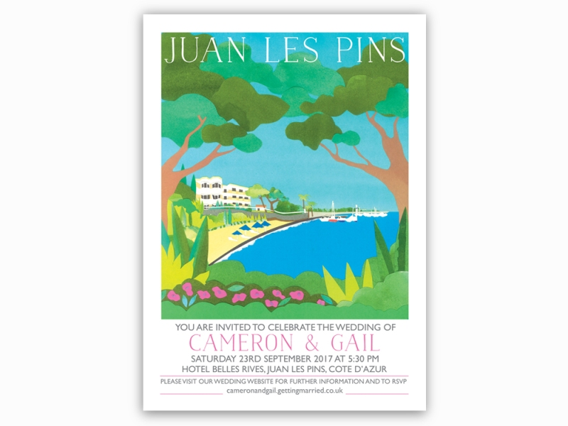 Illustrated wedding invitations of Juan Les Pins France