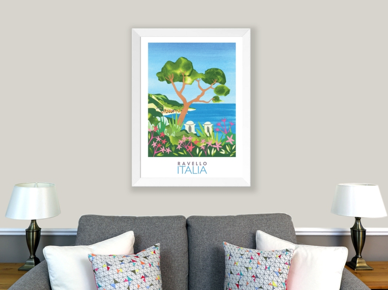 Illustrated travel poster of the Amalfi Coast, Italy