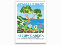 Illustrated wedding invitations depicting the Amalfi Coast created by Holly Anne Blake