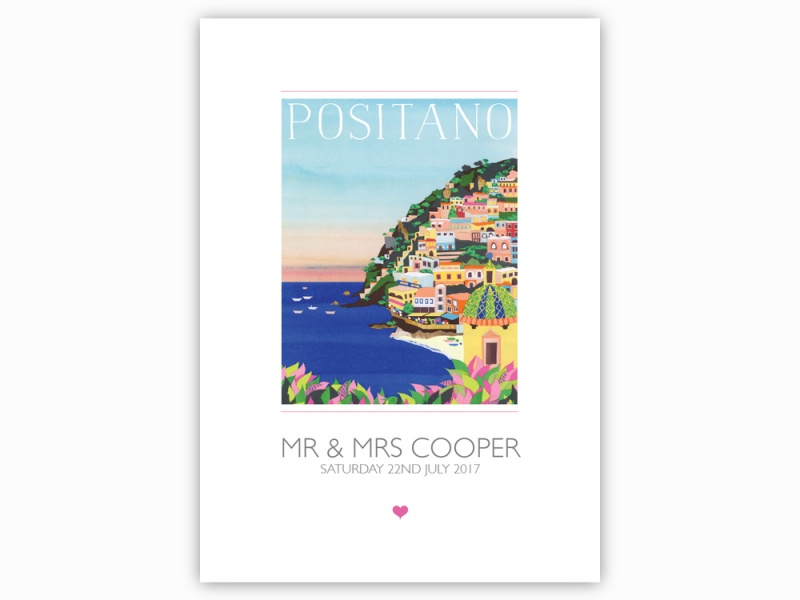 Image showing a blank A3 guestbook featuring a collaged illustration of Positano, Italy.