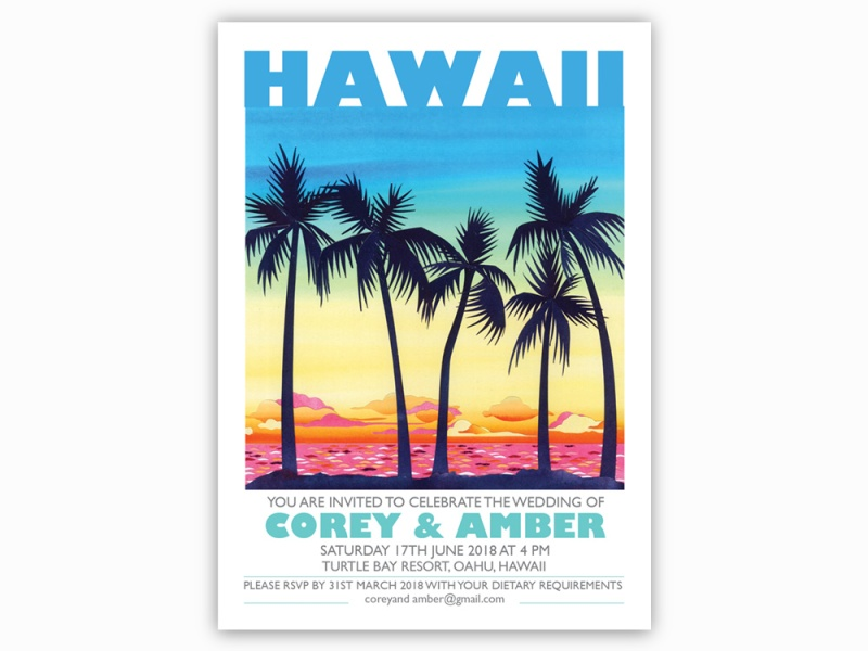 Hawaii wedding invitations, palm tree invitations, sunset invitations