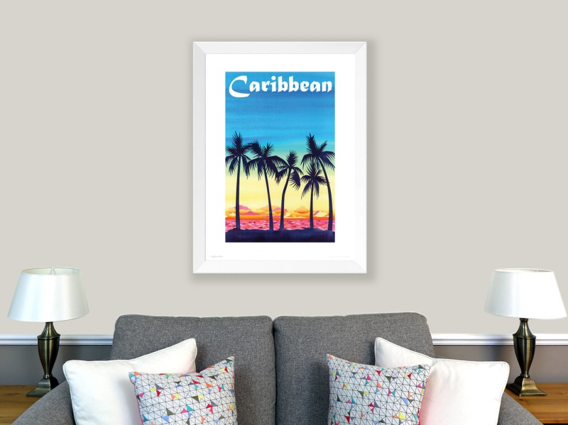 Caribbean poster, wall art. Tropical sunset poster