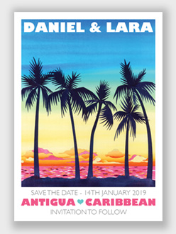Caribbean save the dates, palm tree save the dates